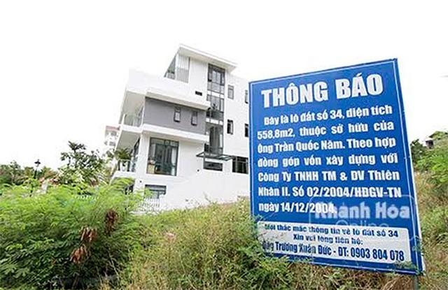 Nhiều lô đất người dân góp vốn để mua tại Dự án khu biệt thự cao cấp Ocean View Nha Trang đã bị chủ đầu tư thế chấp ngân hàng hay một lô đất bán cho nhiều người.