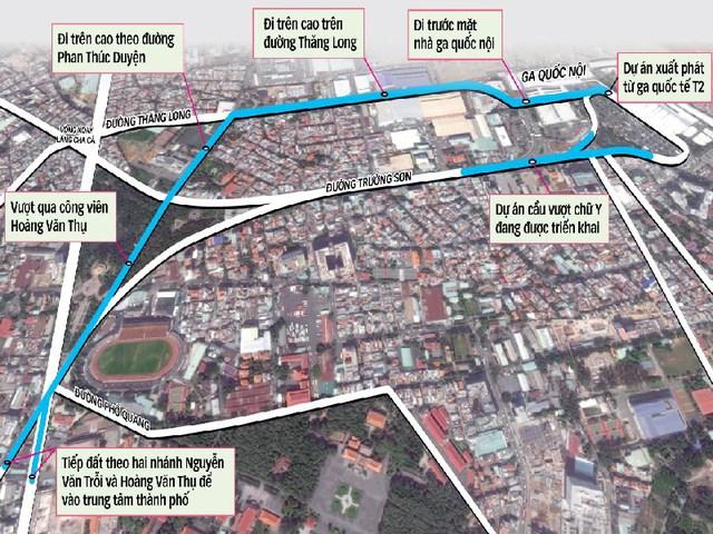 Dự án một vài con phố trên cao vào sân bay Tân Sơn Nhất, trong đây có hai nhánh của một vài con phố trên cao xuống một vài con phố Nguyễn Văn Trỗi và Hoàng Văn Thụ. Ảnh: HT
