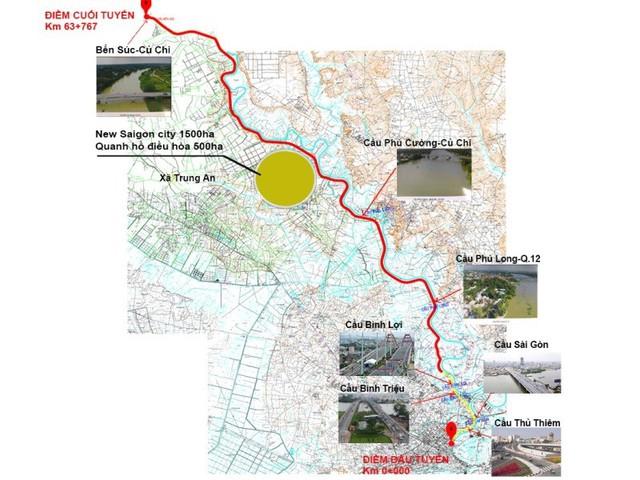 Bản đồ tuyến đường dọc sông dự kiến sẽ thực hiện. (Nguồn: Lấy từ báo cáo đề xuất dự án của Tập đoàn Tuần Châu)
