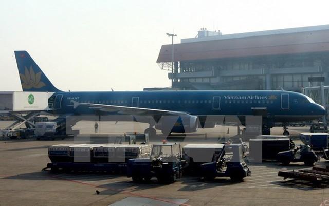 Vận chuyển hàng hóa lên máy bay của Vietnam Airlines ở Cảng Hàng không Nội Bài, Hà Nội. (Ảnh: Huy Hùng/TTXVN)
