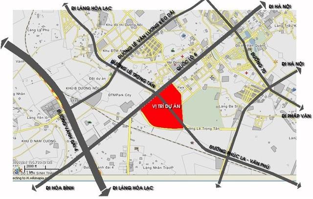 Dự án tọa lạc tại ngã tư trục đường Phúc La - Văn Phú - Quóc Lộ 6 và Lê Trọng Tấn.
