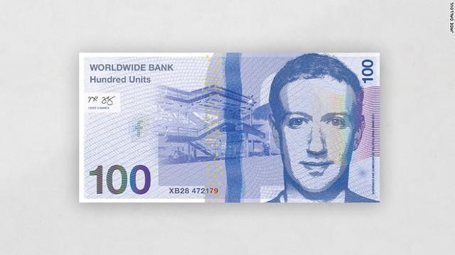 CEO Facebook Mark Zuckerberg trên đồng tiền 100 đơn vị của ngân hàng toàn cầu.