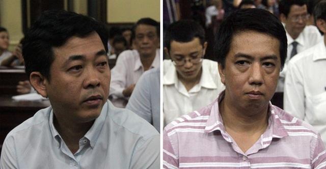 Bị cáo Nguyễn Minh Hùng (áo trắng) và bị cáo Võ Mạnh Cường tại phiên tòa sơ thẩm.