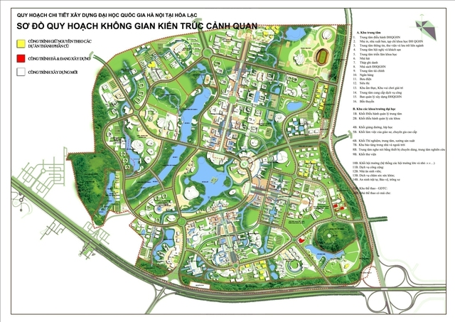 Quy hoạch khu đô thị ĐHQGHN tại Hòa Lạc