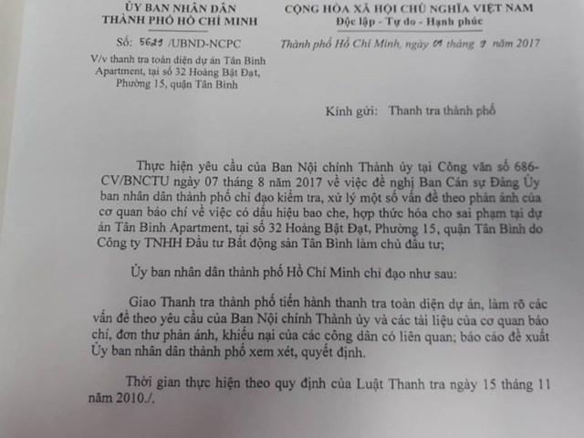 Văn bản chỉ đạo của UBND TPHCM