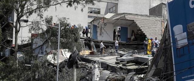 Một tòa nhà ở Mexico City bị sập sau trận động đất. Ảnh: ABC NEWS