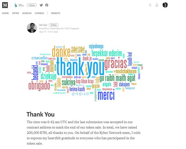 CEO Kyber Network thông báo trên trang cá nhân về thương vụ ICO thành công