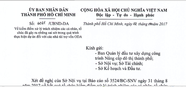 Văn bản của UBND TP HCM gửi các đơn vị