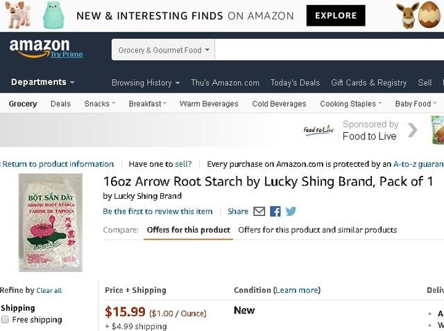Bột sắn dây được bán giá gần 16 USD/gói 450 gr, chưa kể 5 USD tiền ship trên Amazon. Ảnh: Lâm Anh