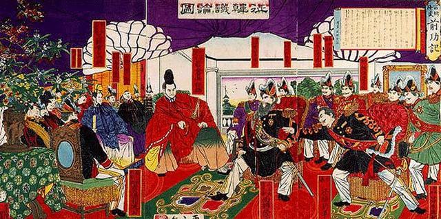 Tranh thời Thiên hoàng Minh Trị có tên Chinh Hàn Luận được vẽ năm 1877. (Nguồn: History.com)