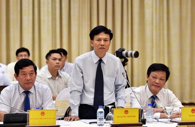 Phó Tổng Thanh tra Chính phủ Bùi Ngọc Lam phát biểu tại buổi họp báo Chính phủ Ảnh: Nhật Bắc