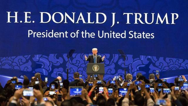 Tổng thống Trump đề cập đến ý tưởng khu vực Ấn Độ - Thái Bình Dương tại APEC 2017. Ảnh BBC