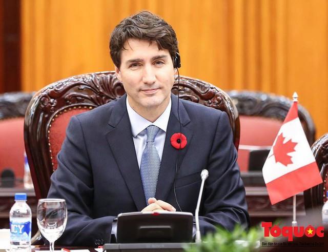 Bông hoa đỏ cài trên ve áo thủ tướng Canada Justin Trudeau có cả một câu chuyện phía sau. Ảnh: Nam Nguyễn.
