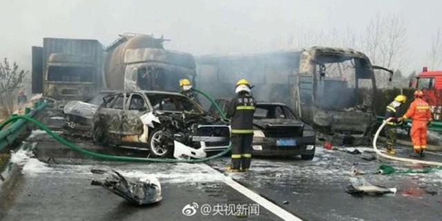 Hiện trường vụ tai nạn. Ảnh: CCTV