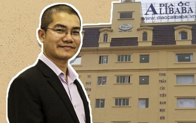 CEO Nguyễn Thái Luyện và trụ sở công ty Địa ốc Alibaba tại quận Thủ Đức, TP HCM- Đồ hoạ: Tấn Nguyên