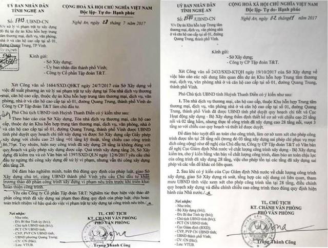 Công văn 5713 (ngày 28/7/2011) và Công văn 8540 (ngày 02/11/2017) của UBND tỉnh Nghệ An.
