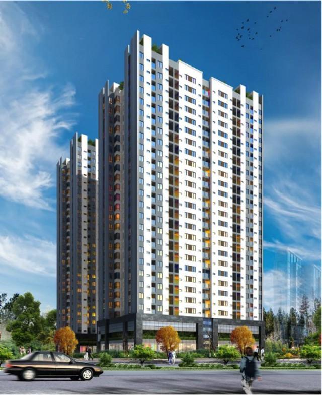 Phối cảnh tòa chung cư 29 tầng Công ty Hoàng Huy sắp xây dựng tại phường Đổng Quốc Bình, Hải Phòng.