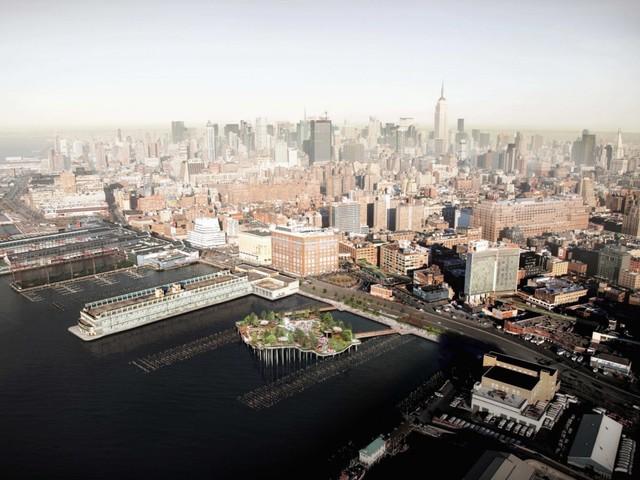 Công viên Diller Island sẽ được xây dựng trên sông Hudson gần phố West 13th ở Manhattan.