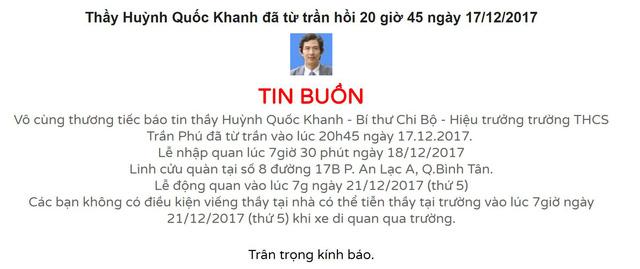 Bảng tin thông báo sự ra đi đột ngột của thầy Hiệu trưởng trường THCS Trần Phú.