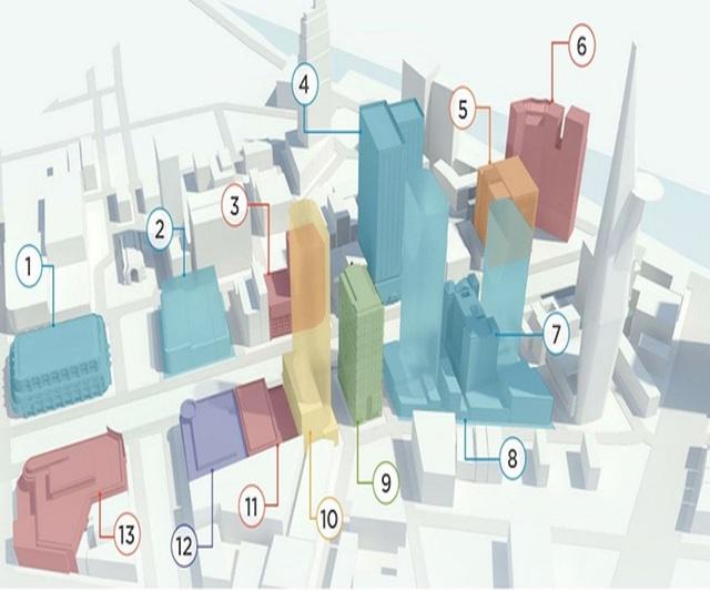 Vị trí: 1. Union Square; 2. TTTM Nguyễn Huệ - Lê Lợi; 4. Saigon Times Square; 7. Khách sạn Duxton (đã đổi tên thành Saigon Prince) do Vạn Thịnh Phát sở hữu. 8. Khu tứ giác vàng; 9. Sunwah Tower; 10. BIDV Tower; 13. Khách sạn Rex. Đồ họa: Zing.vn