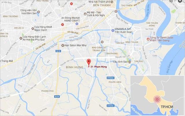Vị trí gần nơi xảy ra vụ cháy. Ảnh: Google Maps.