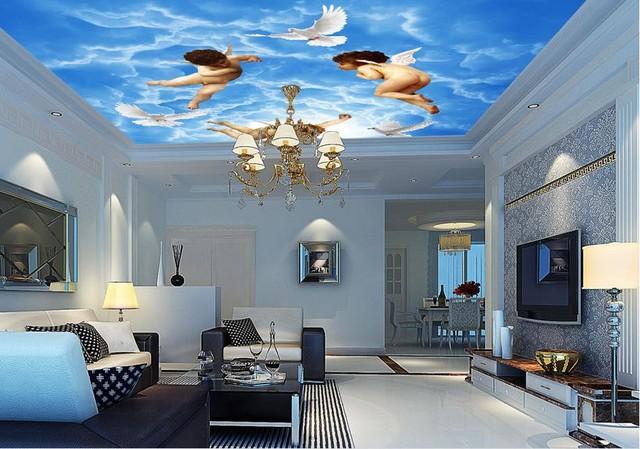 Không gian phòng khách trở nên tuyệt đẹp với kiểu thiết kế trần nhà độc đáo này.
