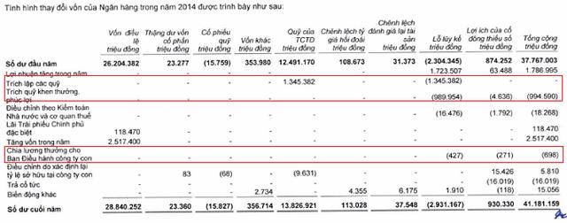 Nguồn: Báo cáo cáo tài chính hợp nhất kiểm toán 2015