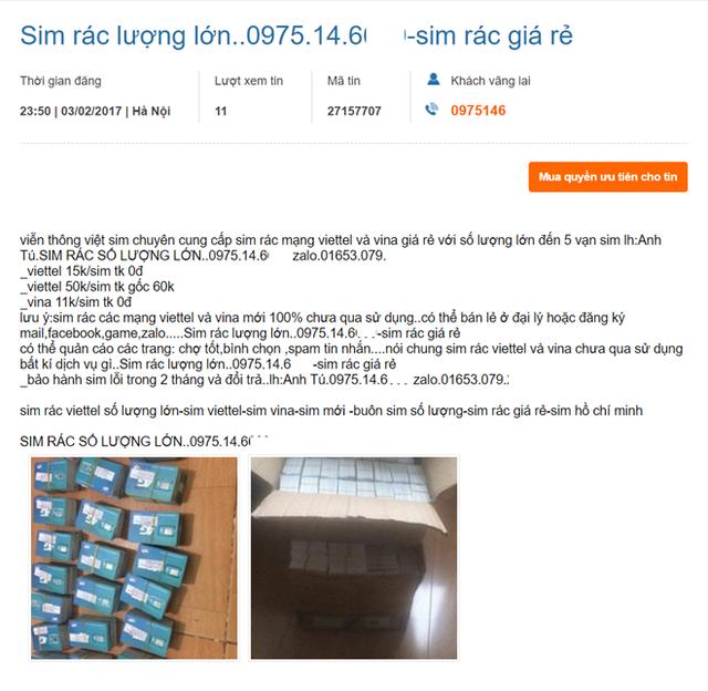 Nhiều người bán còn có sẵn tới 50.000 SIM rác, đảm bảo chưa bị khóa và có thể bán lại tại các đại lý.