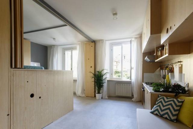Căn hộ nhỏ xinh ngập tràn ánh sáng được thiết kế với chất liệu gỗ thân thiện cùng những ứng dụng thông minh.