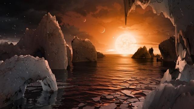 Phác họa về ngôi sao TRAPPIST-1 nhìn từ hành tinh TRAPPIST-1f. Ảnh: NASA.