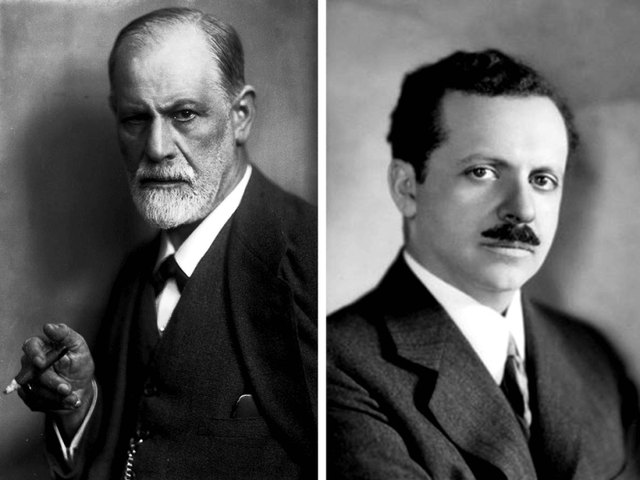Ông Sigmund Freud (ảnh trái) và Edward Bernays (ảnh phải)