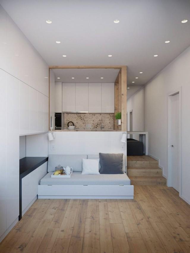 Trên tổng diện tích 25m2, căn hộ có đầy đủ các không gian chức năng như: phòng khách, bếp, nơi nghỉ ngơi, phòng tắm và thậm chí là cả một kho để đồ.