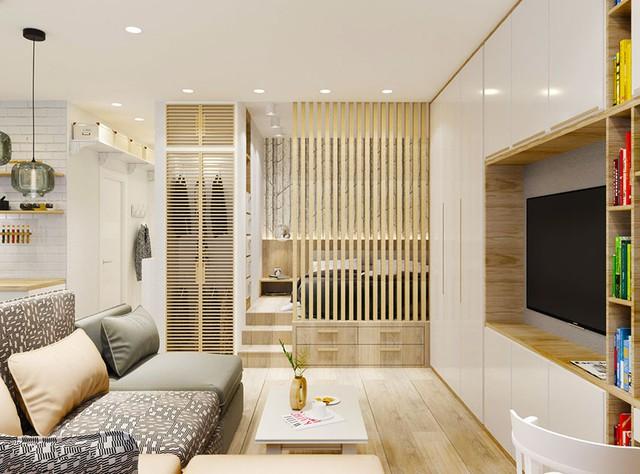Căn hộ nhỏ thoáng sáng với phần lớn nội thất bằng gỗ sáng màu.