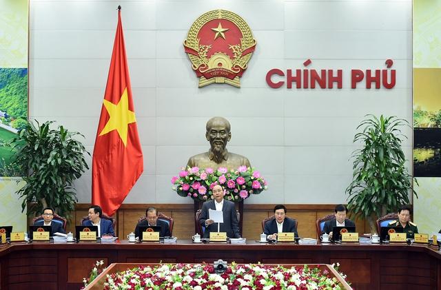 Thủ tướng Nguyễn Xuân Phúc chủ trì phiên họp Chính phủ thường kỳ tháng 3/2017. Ảnh: VGP/Quang Hiếu