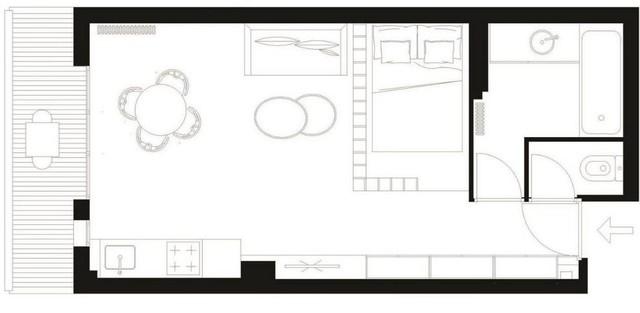 Với nhược điểm là diện tích nhỏ lại có khổ nhà hình ống nên chủ nhân căn hộ đã quyết định bố trí các không gian chức năng chạy dọc theo 2 bên tường để tiện sử dụng đồng thời tạo sự rành mạch cho từng không gian.