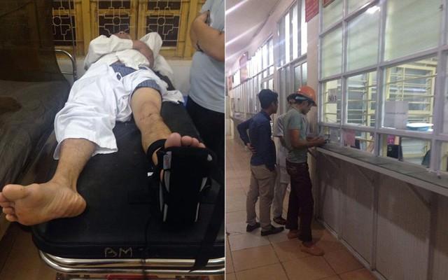 Công nhân bị thương được đưa vào viện cấp cứu