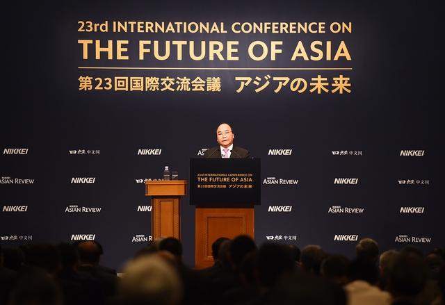 Thủ tướng phát biểu tại Hội nghị Tương lai châu Á. Ảnh: VGP/Quang Hiếu