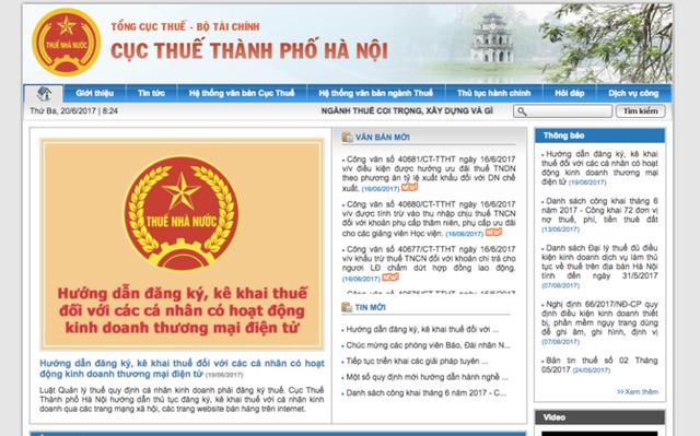 Website của Cục thuế TP Hà Nội
