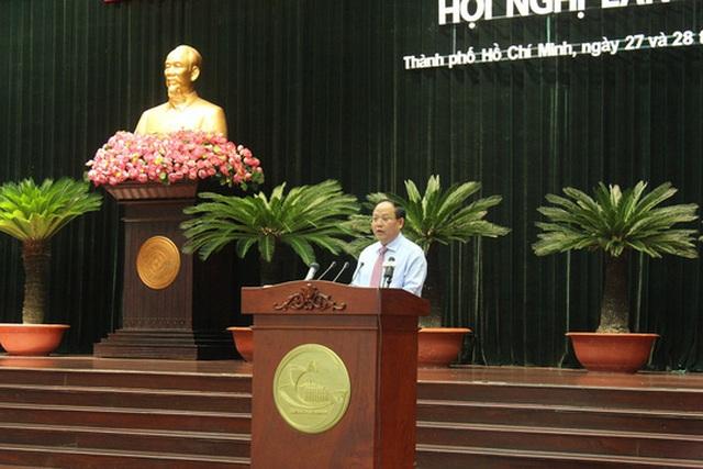 Ông Tất Thành Cang, Ủy viên Trung ương Đảng, Phó Bí thư Thường trực Thành ủy TP HCM phát biểu khai mạc hội nghị