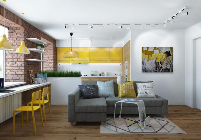 Với lối thiết kế mở, sử dụng nội thất sáng màu cùng với cách bài trí không gian hợp lý khiến căn hộ trở nên tươi mới và gần gũi với thiên nhiên.