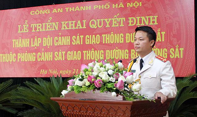 Đại uý Đặng Hồng Giang - Đội trưởng CSGT đường sắt PC67 Hà Nội