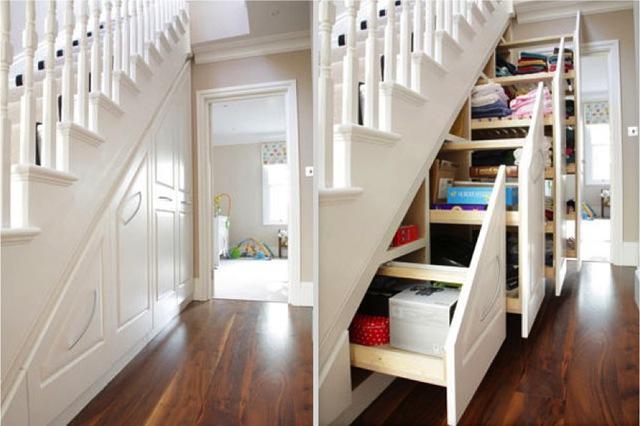 Tận dụng khoảng không gian dưới gầm cầu thang là một ý tưởng thông minh giúp bạn giải quyết khá nhiều rắc rối trong việc lưu trữ đồ dùng trong gia đình.