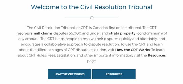 Giao diện trang Tòa án điện tử của Canada.