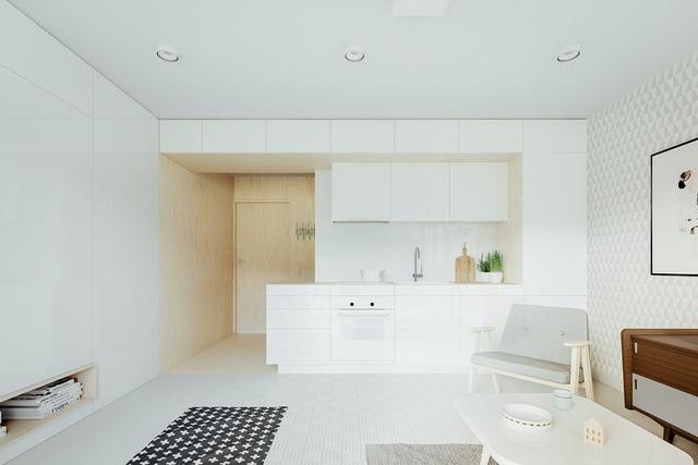 Từ cửa chính bước vào bạn sẽ đi qua cửa nhà vệ sinh, tới gian bếp và đi vào trong phòng khách của chủ nhà.