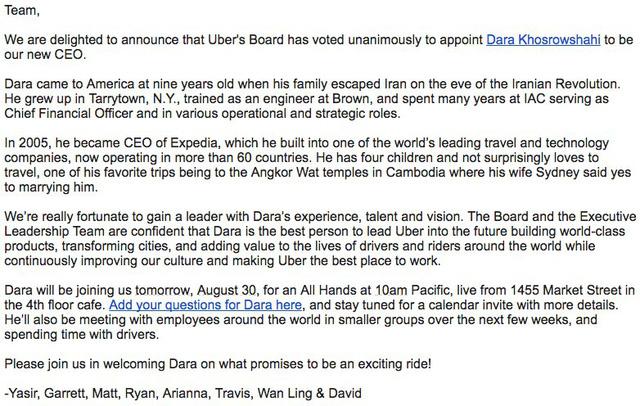 Ban lãnh đạo gửi thư chào đâyn CEO mới.