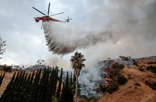 Máy bay phun nước dập lửa. Ảnh: Reuters