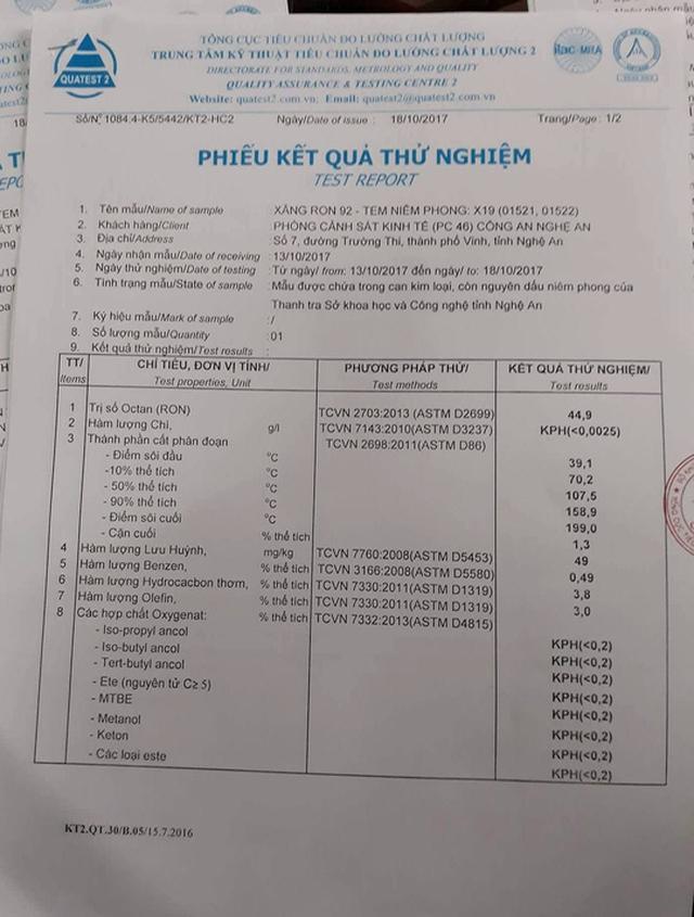 Kết quả phân tích phiếu xăng A92 kém chất lượng