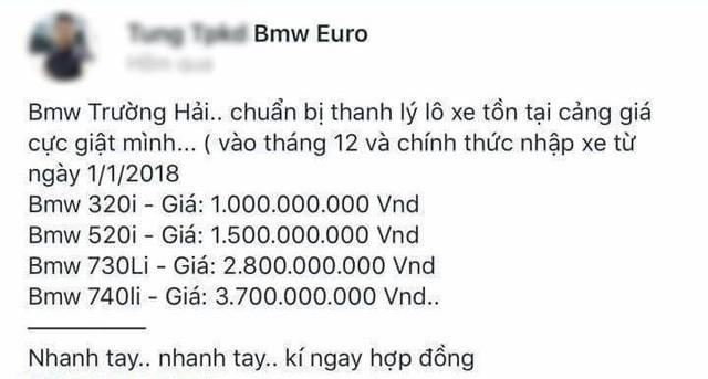 Thông tin đăng thanh lý xe BMW tồn tại cảng với giá từ 1 tỷ đồng. Nguồn: Zalo.