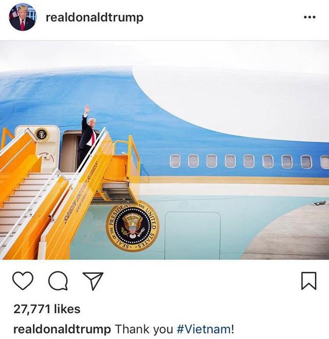 Bức ảnh ông Trump đăng trên Instagram sau khi rời Việt Nam