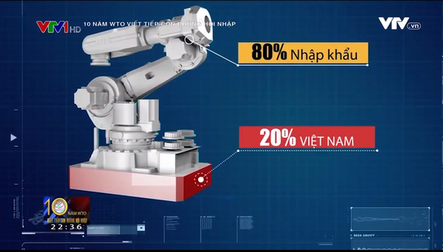 Bộ phận thứ hai có doanh nghiệp Việt tham gia là cánh tay robot thực hiện hai động tác đơn giản là gắp và thả màn hình.